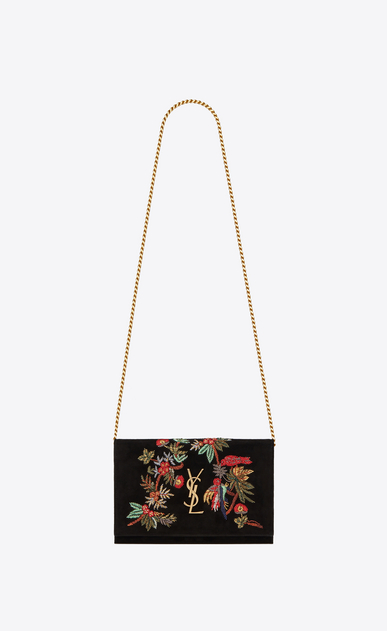 SAINT LAURENT Mini bags Monogramme Woman Monogram chain wallet in black suede with embroidered parrots a_V4