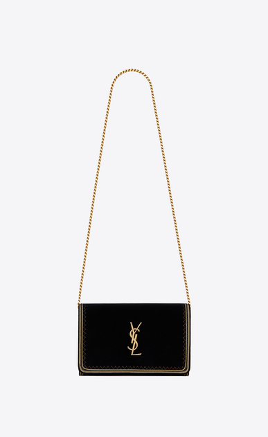 SAINT LAURENT Mini bags Monogramme Woman Monogram chain wallet in black velvet and gold passementerie a_V4
