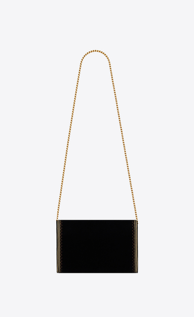 SAINT LAURENT Mini bags Monogramme Woman Monogram chain wallet in black velvet and gold passementerie b_V4