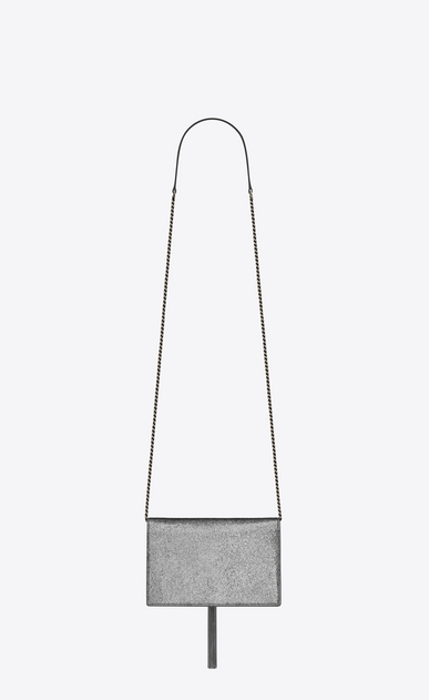 SAINT LAURENT Mini bags Kate Woman Kate chain and tassel wallet in silver crinkled metallic leather b_V4