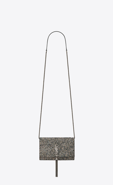 SAINT LAURENT Mini bags Kate Woman Kate chain and tassel wallet in metallic gray glitter leather a_V4