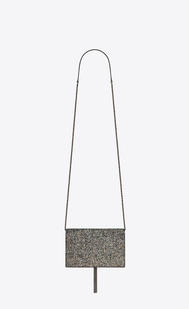 SAINT LAURENT Mini bags Kate Woman Kate chain and tassel wallet in metallic gray glitter leather b_V4