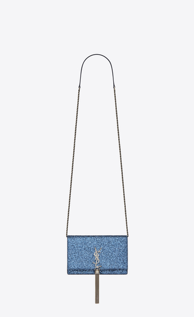 SAINT LAURENT Mini bags Kate Woman kate chain wallet with tassel in glitter a_V4