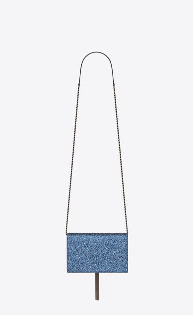 SAINT LAURENT Mini sacs Kate Femme Kate chain wallet avec pompon en glitter b_V4