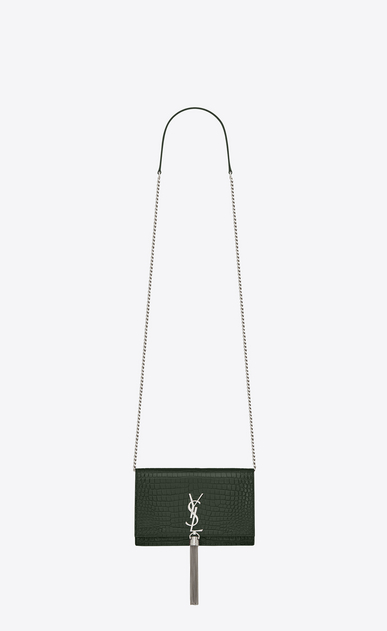 SAINT LAURENT Mini bags Kate Woman Kate chain wallet with tassel in stamped crocodile shiny leather a_V4