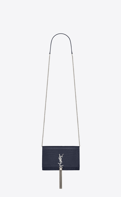 SAINT LAURENT Mini sacs Kate Femme Kate chain wallet avec pompon en cuir brillant embossé crocodile a_V4