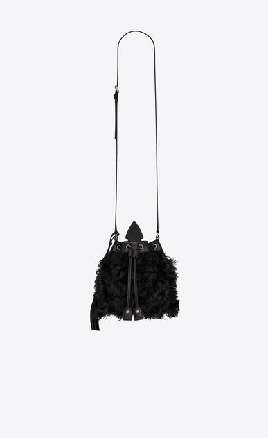 SAINT LAURENT Bucket Bag Woman Small bucket bag with Anja tassel in black curly shearling a_V4