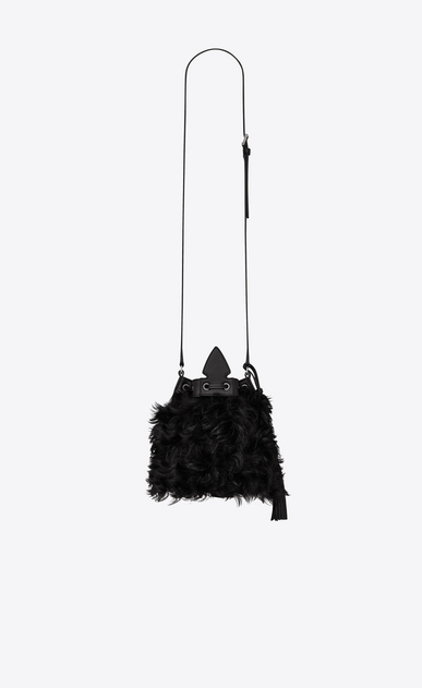 SAINT LAURENT Bucket Bag Woman Small bucket bag with Anja tassel in black curly shearling b_V4