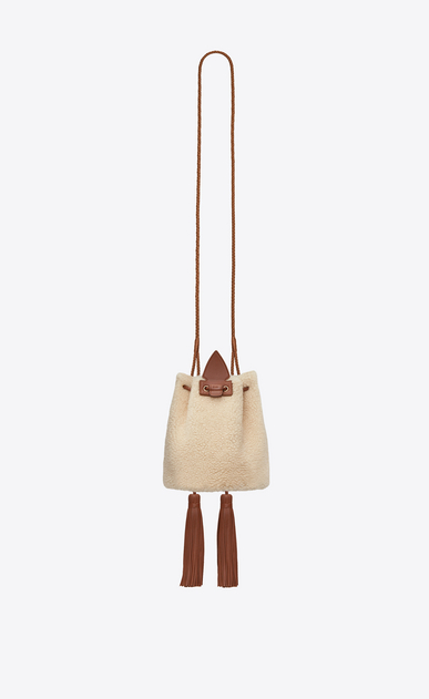 SAINT LAURENT Bucket Bag Woman Small bucket bag with Anja tassels in ivory shearling and cognac leather b_V4