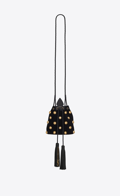 SAINT LAURENT Bucket Bag Woman Small bucket bag in black suede with studs and Anja tassels a_V4
