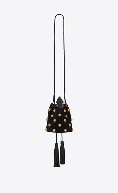 SAINT LAURENT Bucket Bag Woman Small bucket bag in black suede with studs and Anja tassels b_V4