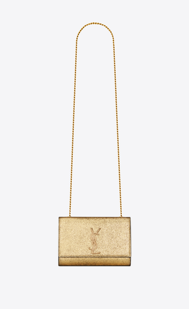 SAINT LAURENT MONOGRAM KATE Woman kate small in crinkled metallic leather a_V4