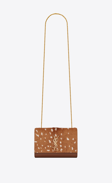 SAINT LAURENT MONOGRAM KATE Woman Small Kate chain bag in cognac leather and fawn-look ponyskin a_V4