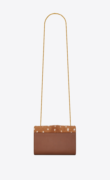 SAINT LAURENT MONOGRAM KATE Woman Small Kate chain bag in cognac leather and fawn-look ponyskin b_V4