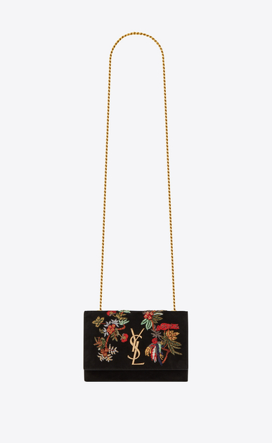 SAINT LAURENT MONOGRAM KATE Woman Small Kate chain bag in black suede with embroidered parrots a_V4