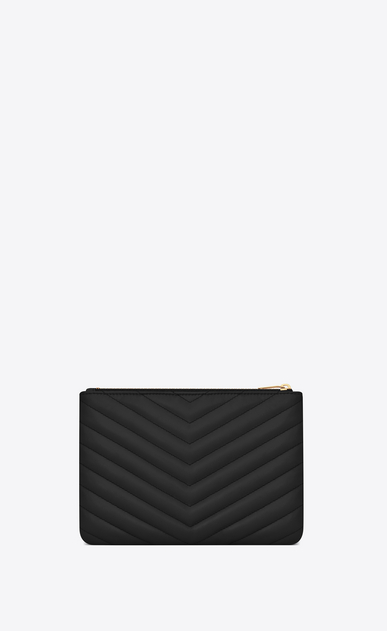 SAINT LAURENT Monogram Matelassé Woman Monogram pouch in black quilted leather b_V4