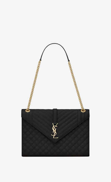 SAINT LAURENT Monogram envelope Bag Donna Borsa Envelope large in pelle trapuntata e a texture nera a_V4