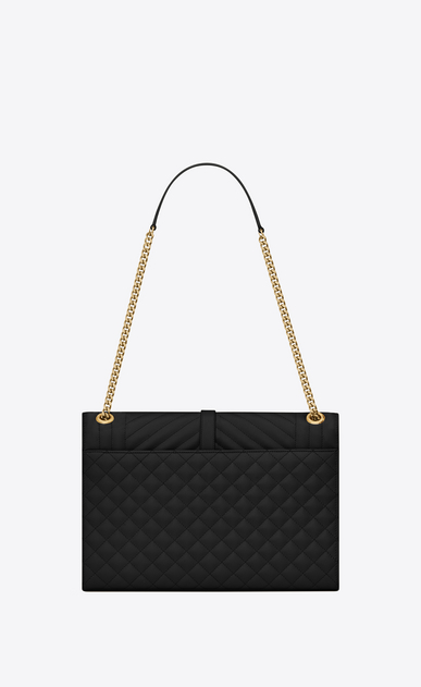 SAINT LAURENT Monogram envelope Bag Donna Borsa Envelope large in pelle trapuntata e a texture nera b_V4