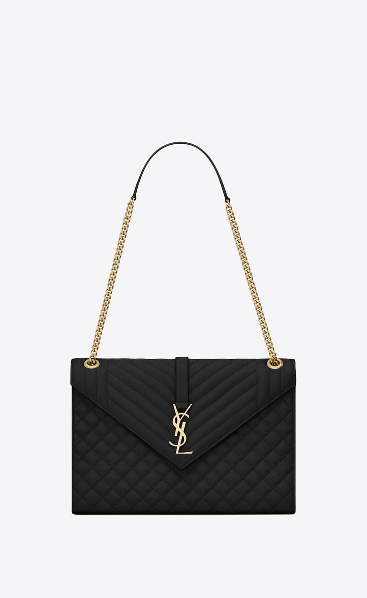 7441c4387564 Saint Laurent Envelope Large Bag In Grain De Poudre Embossed ...