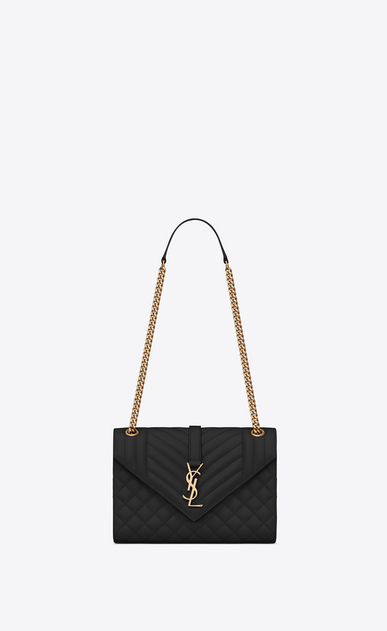 SAINT LAURENT Monogram envelope Bag Donna Borsa Envelope medium in pelle trapuntata e a texture nera a_V4
