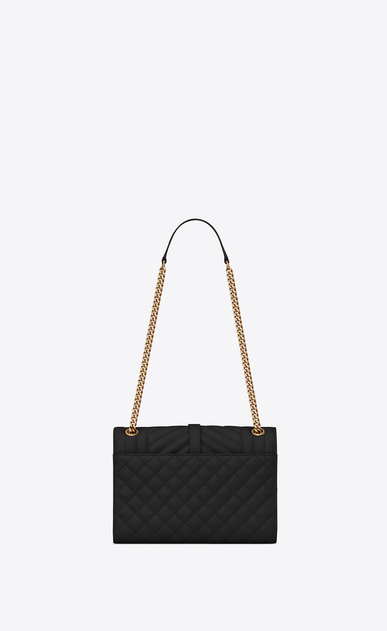 SAINT LAURENT Monogram envelope Bag Donna Borsa Envelope medium in pelle trapuntata e a texture nera b_V4