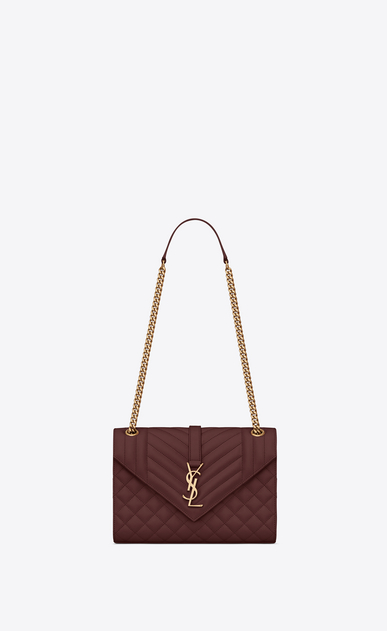 SAINT LAURENT Monogram envelope Bag Damen Medium Envelope bag in quilted and textured burgundy leather a_V4
