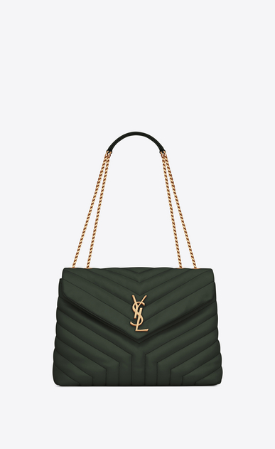"SAINT LAURENT Monogramme Loulou Woman Medium Loulou chain bag in ""Y""-quilted dark green leather a_V4"
