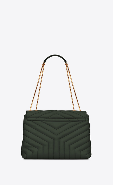 "SAINT LAURENT Monogramme Loulou Woman Medium Loulou chain bag in ""Y""-quilted dark green leather b_V4"