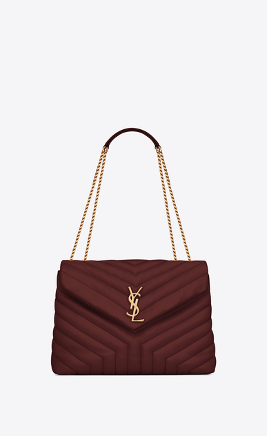 "SAINT LAURENT Monogramme Loulou Woman Medium Loulou chain bag in ""Y""-quilted burgundy leather a_V4"
