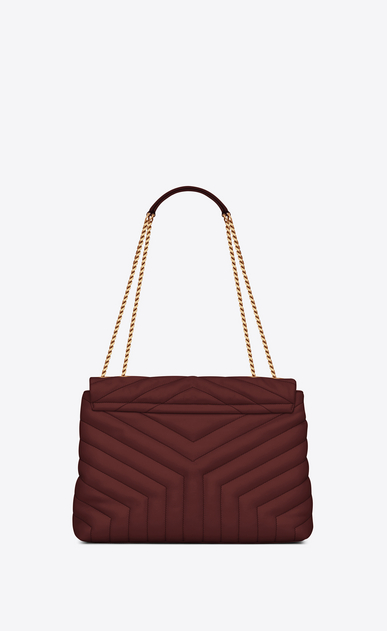 "SAINT LAURENT Monogramme Loulou Woman Medium Loulou chain bag in ""Y""-quilted burgundy leather b_V4"