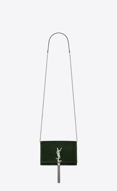 SAINT LAURENT Mini bags Kate Woman kate chain wallet with tassel in velours and crystals a_V4