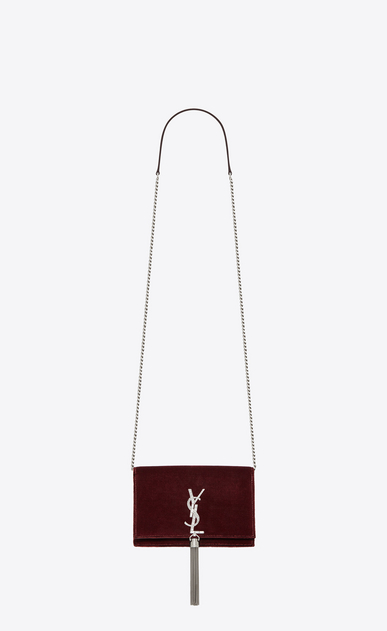 SAINT LAURENT Mini bags Kate Woman Kate chain and tassel wallet in dark red velvet and crystals a_V4