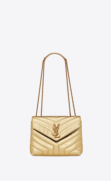 "SAINT LAURENT Monogramme Loulou Woman Small Loulou chain bag in ""Y""-quilted crinkled gold leather a_V4"