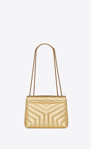 "SAINT LAURENT Monogramme Loulou Woman Small Loulou chain bag in ""Y""-quilted crinkled gold leather b_V4"