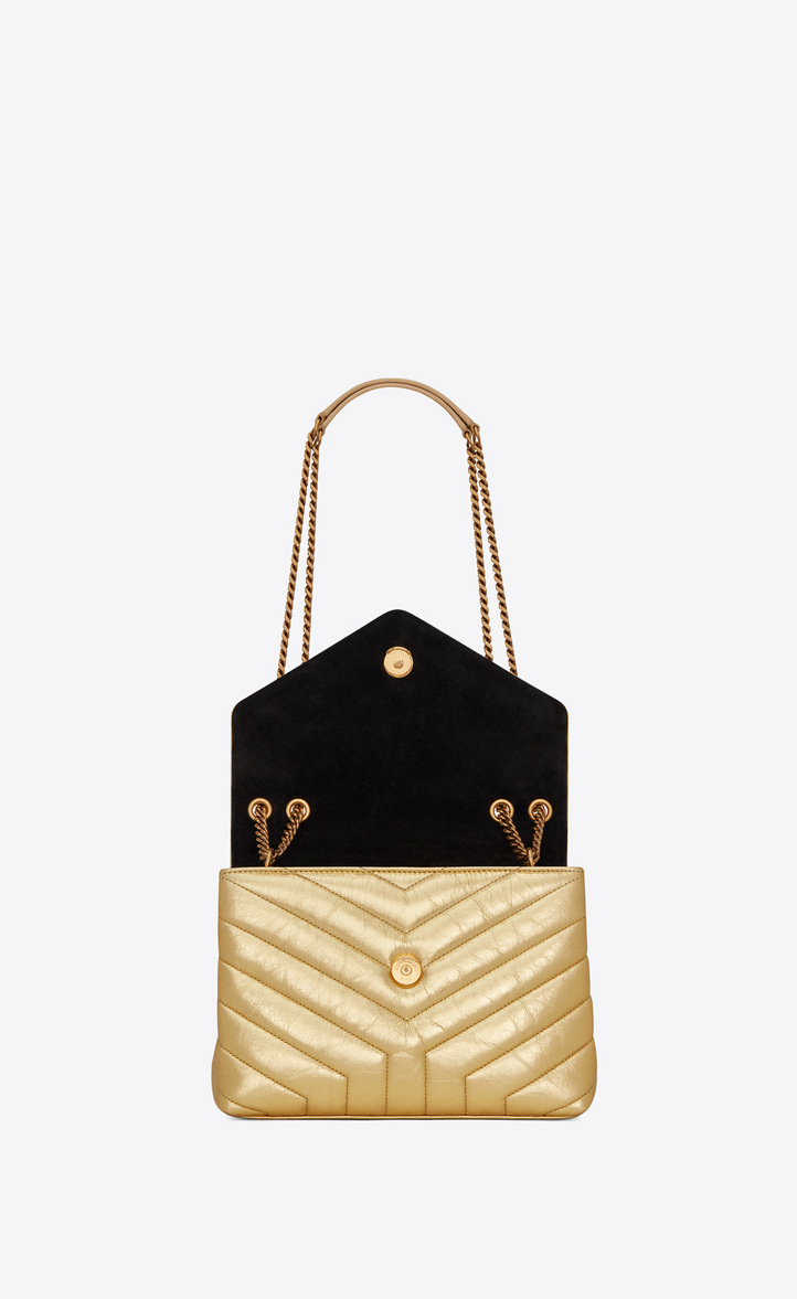 """e62322860be Yves Saint Laurent - Small Loulou chain bag in """"Y""""-quilted crinkled gold"""