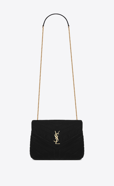"SAINT LAURENT Monogramme Loulou Woman Small Loulou chain bag in ""Y""-quilted black velvet a_V4"