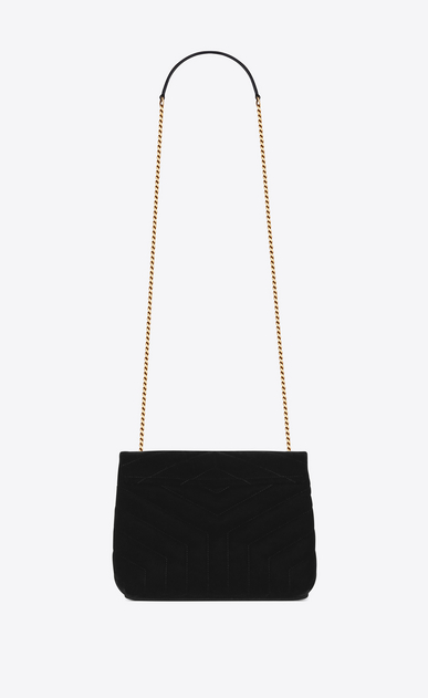 "SAINT LAURENT Monogramme Loulou Woman Small Loulou chain bag in ""Y""-quilted black velvet b_V4"