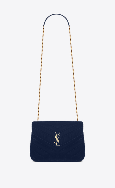 "SAINT LAURENT Monogramme Loulou Woman Small Loulou chain bag in ""Y""-quilted navy blue velvet a_V4"