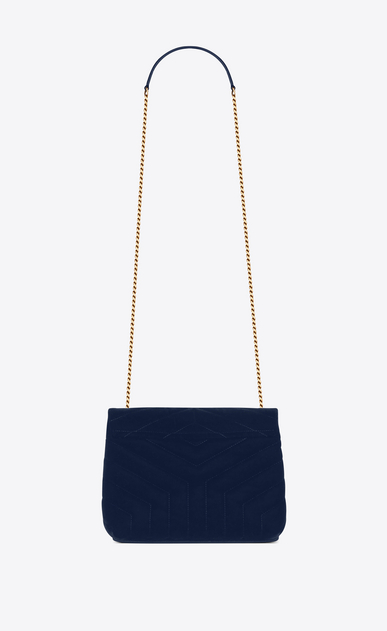 "SAINT LAURENT Monogramme Loulou Woman Small Loulou chain bag in ""Y""-quilted navy blue velvet b_V4"