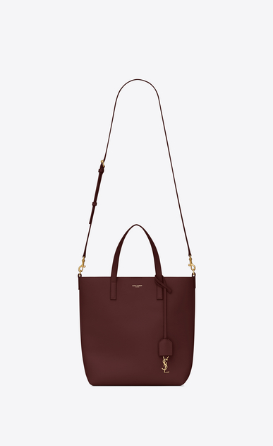 SAINT LAURENT Shopping Saint Laurent N/S Femme sac TOY shopping en cuir bordeaux b_V4