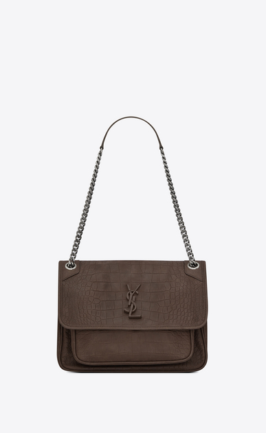 SAINT LAURENT Niki bags Woman niki medium in embossed crocodile suede a_V4