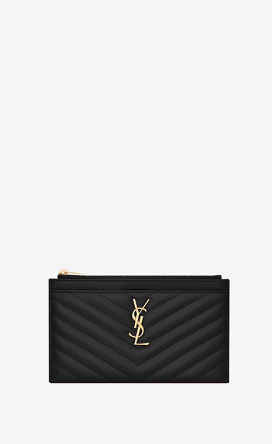 SAINT LAURENT Monogram Matelassé Woman Monogram clutch in black textured and quilted leather a_V4
