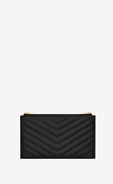 SAINT LAURENT Monogram Matelassé Woman Monogram clutch in black textured and quilted leather b_V4