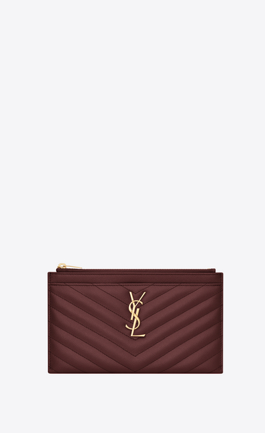 SAINT LAURENT Monogram Matelassé レディース Monogram pouch in burgundy textured and quilted leather a_V4
