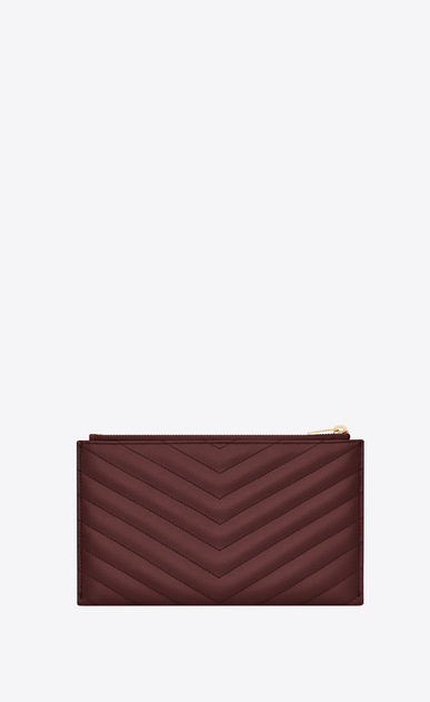 SAINT LAURENT Monogram Matelassé レディース Monogram pouch in burgundy textured and quilted leather b_V4