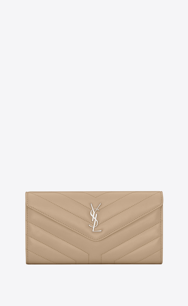 "SAINT LAURENT Monogram Matelassé Woman Large Loulou flap front wallet in shiny dark beige leather with ""Y"" quilting a_V4"