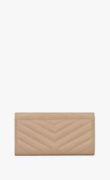 "SAINT LAURENT Monogram Matelassé Woman Large Loulou flap front wallet in shiny dark beige leather with ""Y"" quilting b_V4"