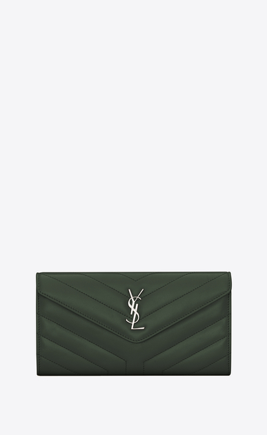 "SAINT LAURENT Monogram Matelassé Woman Large Loulou flap front wallet in shiny dark green leather with ""Y"" quilting a_V4"