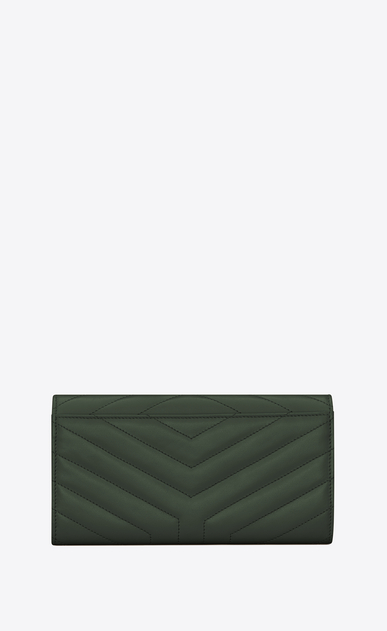 "SAINT LAURENT Monogram Matelassé Woman Large Loulou flap front wallet in shiny dark green leather with ""Y"" quilting b_V4"