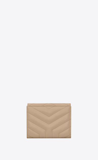 "SAINT LAURENT Monogram Matelassé Woman Loulou compact wallet in shiny dark beige leather with ""Y"" quilting b_V4"